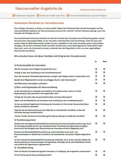 Kostenlose Checkliste Zur Verwaltersuche Hausverwalter Angebotede